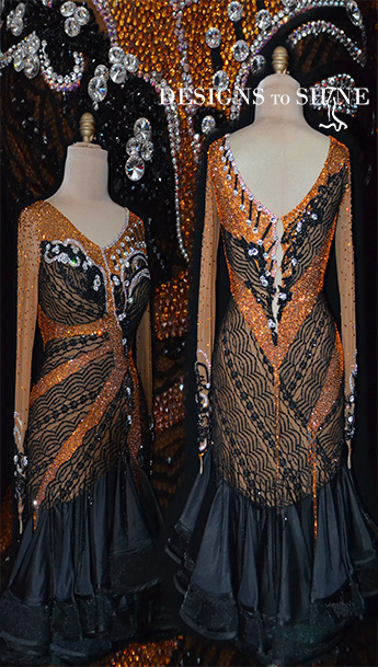 latin-dancewear-orange-stars-L14230